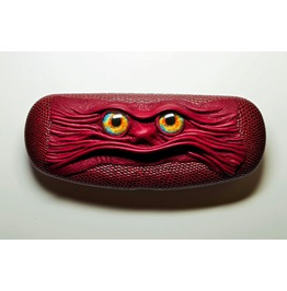 Red Clam Shell Leather Hard Case For Eyeglass Sunglasses Elder Glasses.