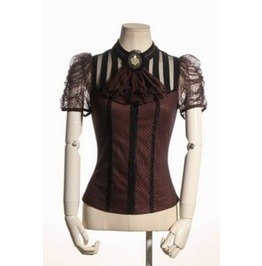 Steampunk Brown & Black Or All Black Lace Top W/ Octopus Cameo By Rq/Bl