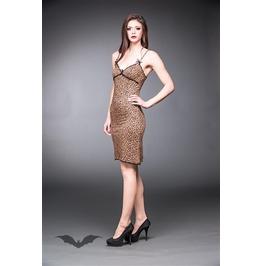 Long Leopard Print Dress With Black Lace