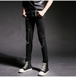 Punk Rock Men's Black Ripped Skinny Chain Pants Personalized Trousers