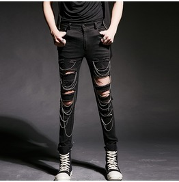 C&F Black Collection Gothic Chain Pants Ripped Skinny Straight Trousers
