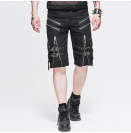Mens Steampunk Casual Shorts Black Belt Rock Zipper Gohic Summer Short Pant