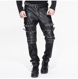 Steampunk Men Pu Leather Trousers Biker Leather Steel Buckle Straps Rock Pa