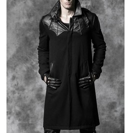 Gothic Long Wind Coat Black Woolen Punk Coats Pu Leather Men Classic Coat
