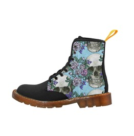 Skulls And Roses Scabby Chic Ladies Combat Boots