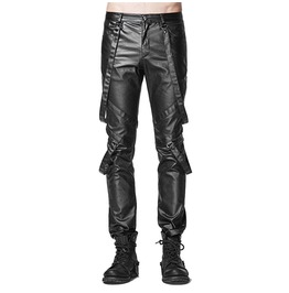 Punk Men Long Pant Cotton Bind Cros Layer Pant Gothic Slacks Elastic Leg Pa