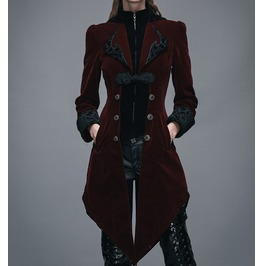 Steampunk Swallow Tail Coat Gothic Womens Long Velvet Jacket Coat Red/Black