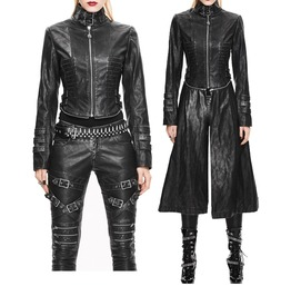 Devil Fashion Women Trench Coats Gothic Punk Metal Pu Personalized Coat