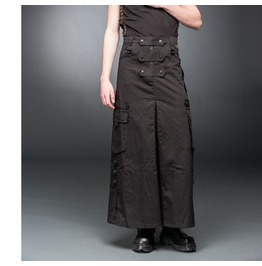 Steampunk Long Skirt Gohic Men Long Military Trouser With Pockets & D Rings