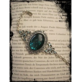 Goth Bracelet Blue Glitter Stone