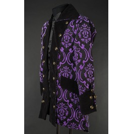 Mens Black Purple Brocade Gothic Victorian Pirate Jacket Free Shipping