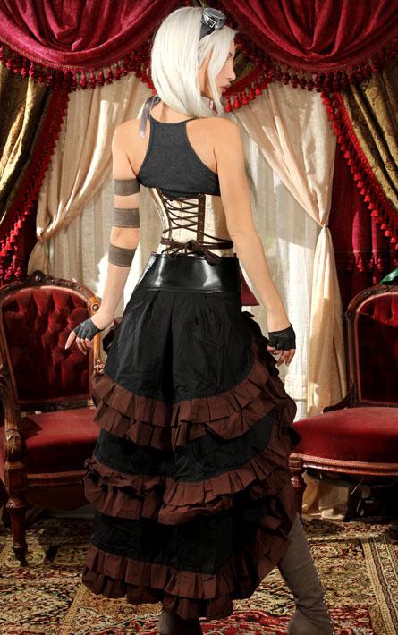 rebelsmarket_black_brown_trim_steampunk_short_front_ruffle_skirt_6_worldwide_shipping_skirts_1.jpg