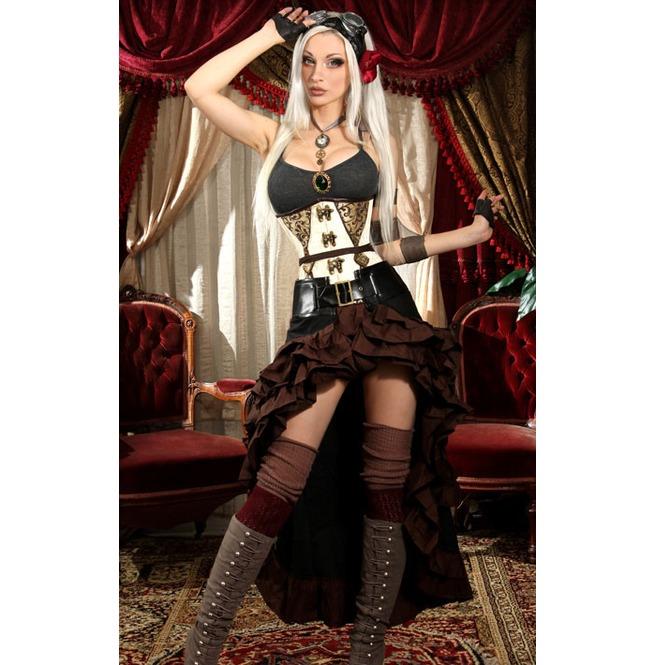 rebelsmarket_black_brown_trim_steampunk_short_front_ruffle_skirt_6_worldwide_shipping_skirts_3.jpg