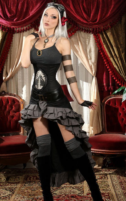 rebelsmarket_black_gray_steampunk_short_front_long_back_ruffle_skirt_6_shipping_skirts_3.jpg