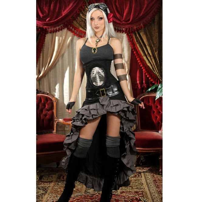 rebelsmarket_black_gray_steampunk_short_front_long_back_ruffle_skirt_6_shipping_skirts_2.jpg