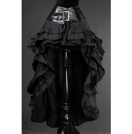 Black Gothic Steampunk Short Front Long Back Ruffle Skirt