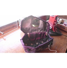 Purple Coffin Casket Purse Lined Mirror