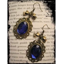 Bronze Earrings Blue Stone Loop