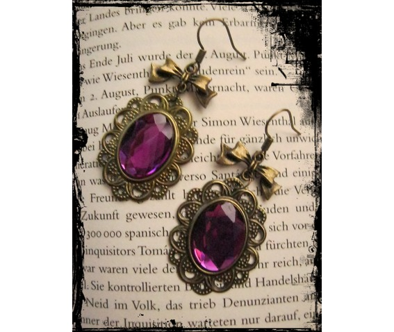 bronze_earrings_fuchsia_stone_loop_earrings_2.JPG
