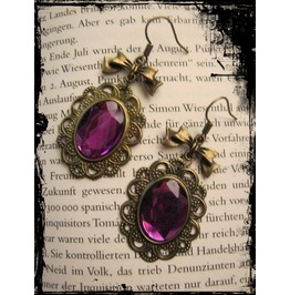 Bronze Earrings Fuchsia Stone Loop