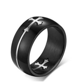 Black Titanium Silver Cross Ring ~ 8 Mm