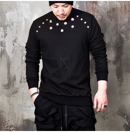 Chest Eyelet Accent Black Sweatshirts 666