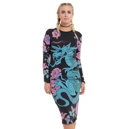 Jawbreaker Clothing Women's Black Dark Dragon Long Bodycon Dress