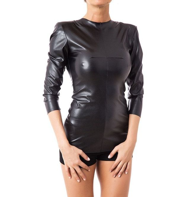 52e9eb513f83 Goth Women Fetish Black Faux Leather Top Women Fitted   RebelsMarket