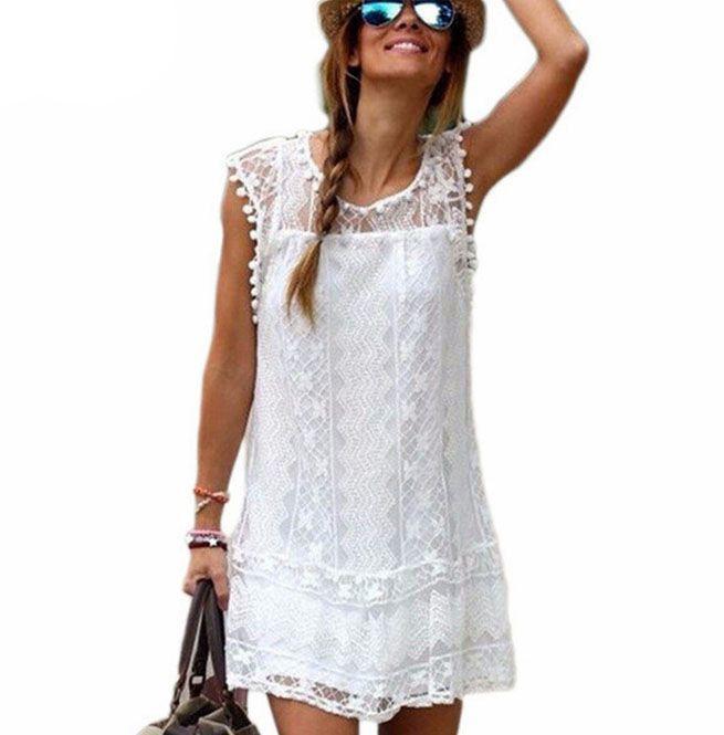 Tassel Design White Lace Short Beach Dress Plus Size | RebelsMarket