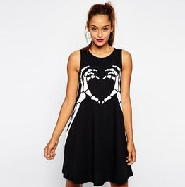 Skull Skeleton Hands Heart Print Gothic Punk Sleeveless Black Party Dress