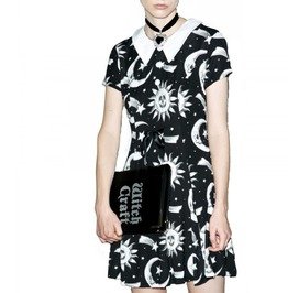 Cosmic Print Punk Gothic Black Doll Dress
