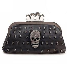 Sequined Skull Rivet Chain Clutch Handbag edb450cdc2850