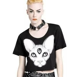 Harajuku Punk Sphynx Cat Printed Crop Top