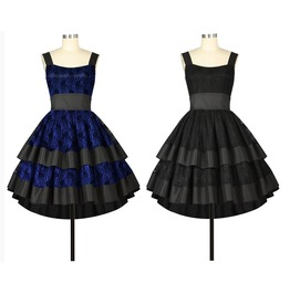 Blue Or Black On Blue Lace Party Goth Rockabilly 50s Dress Reg& Plus Sizes