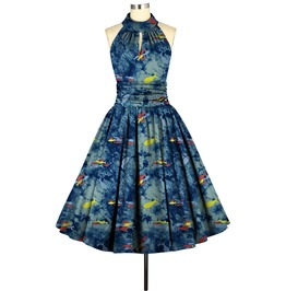 Fish Knee Length Party Rockabilly 50s Pinup Dress Reg& Plus Size Free Ship