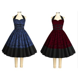 Blue Or Red Floral Party Pinup Rockabilly 50s Dress Reg& Plus Sizes