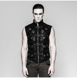 Mens Black Faux Leather Gothic Diesel Punk Machinist Buckle Vest Free Ship