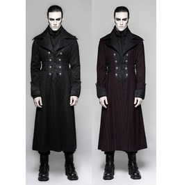 Mens Red Stripe Or Black Steampunk Vampire Jacket Gothic Victorian Coat