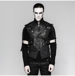 Mens Black Faux Leather Gothic Diesel Punk Fetish Armor Vest $9 To Ship