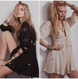 Fashion Women Vintage Embroidery Boho People Hippie Loose Sexy
