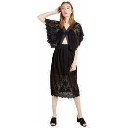 Sexy V Neck Wide Sleeves Black Lace Dress