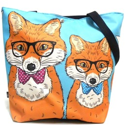 Magnetic Snap Fastener Bag With Foxes