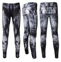 Gothic Church Windows Fantasy Tattoo Skulls Halloween Leggings Goth Emo