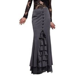3064988ef0 Vintage Gothic Fishtail Corset Lace Up Long Mermaid Skirt