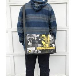 Student, Ny Times Print, Benga Rabbit, Black Vegan Leather Messenger Bag