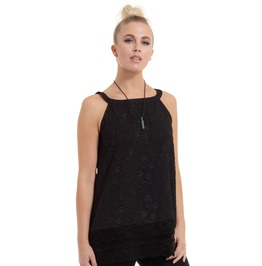 Jawbreaker Clothing Women's Black Floral Jacquard Top With Black Lace