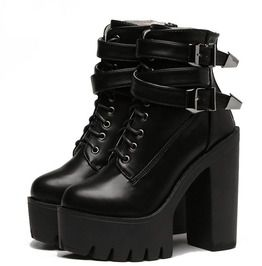00a9725d4c9 High Heels Platform Lace Up Buckle Leather Women Boots