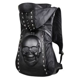 819216a61f3d 3 D Big Skull   Rivets Skull Leather Backpack With Hood Cap