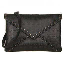 Skull Rivet Envelope Clutch Crossbody Punk Handbag