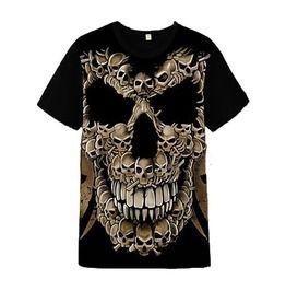 0779e1906679 3 D Print Smiling Skull Flame Skull Ghost Motorcyle T Shirt Men